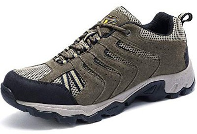 CAMEL CROWN Mens Leather Hiking Shoes Lightweight Slip-Resistant Walking Sneakers