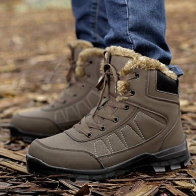 Dannto Mens Snow Boots Waterproof High Top Backpacking Hiking Shoes Outdoor Sneakers