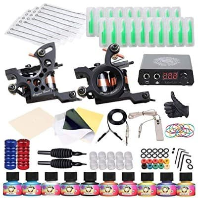Dragonhawk Complete Tattoo Kit 2 Machine Gun 10 Color Inks Power Supply