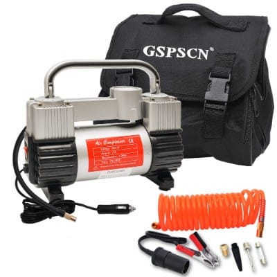 GSPSCN Tire Inflator Heavy Duty Double Cylinders with Portable Bag 12V Metal Air Compressor