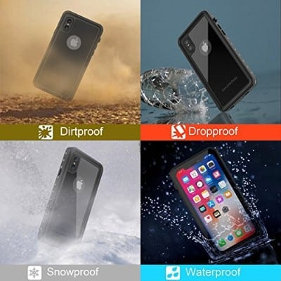 OUNNE iPhone X:Xs Waterproof Case With Built-in Screen Protector