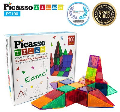 PicassoTiles 100 Piece Set 100pcs Magnet Building Tiles Clear Magnetic 3D Building Blocks