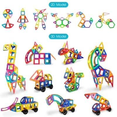 Jasonwell Magnetic Tiles Creative Magnetic Building Blocks Set