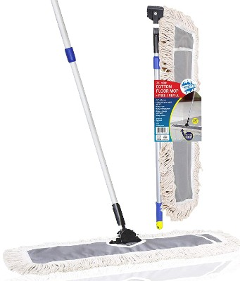 TELESCOPIC POLE WET AND DRY PADS 48 INCH MICROFIBER MOP KIT MOP FRAME