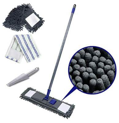 Flat Mop with 2 Mop Refills Chenille Magic Dust Cleaning Mop