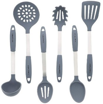 Grey Kitchen Utensil Set - Stainless Steel & Silicone Heat Resistant Cooking Tools