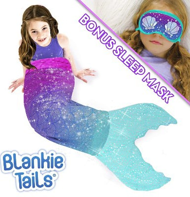 Blankie Tails Mermaid Tail Blanket with Bonus Sleep Mask Gift Set