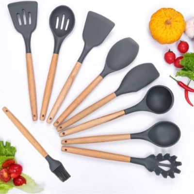 Silicone Cooking Utensils Set, Kitchen Utensil Set of 9 Packs Wooden Cooking Utensils