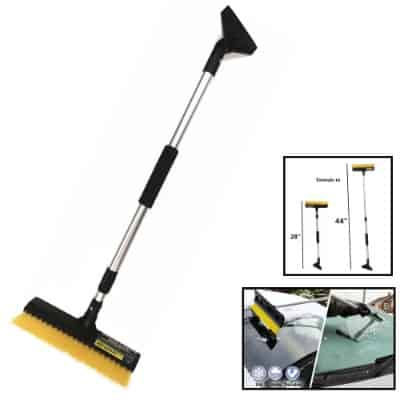 TSY TOOL 44 inch Extendable Snow Brush with Squeegee & Ice Scraper