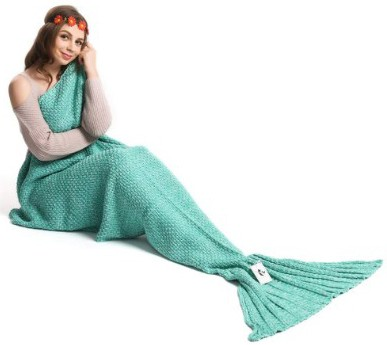 Kpblis Adult Knitted Crochet Mermaid Blanket