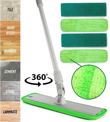 48 INCH MICROFIBER MOP KIT MOP FRAME TELESCOPIC POLE WET AND DRY PADS