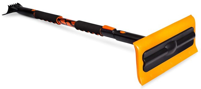 BIRDROCK HOME Snow MOOver 55 Extendable Foam Snow Brush and Ice Scraper with Soft Grip