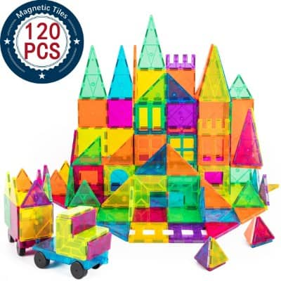 Kids Magnet Toys Magnet Building Tiles, 120 PCs 3D Magnetic Building Blocks Set