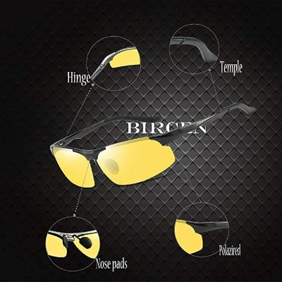 Mens Womens Night Vision Driving Sports Design Anti Glare Rain Day Glasses