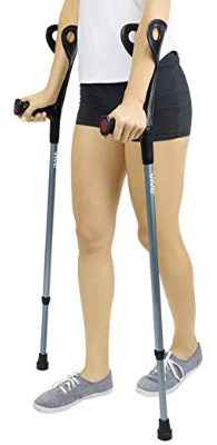 Forearm Crutches by Vive (Pair) - Lightweight Arm Cuff Crutch