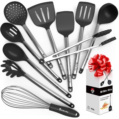 Kitchen Utensil Set - 10 Cooking Utensils - Nonstick Silicone and Stainless Steel Spatula Set