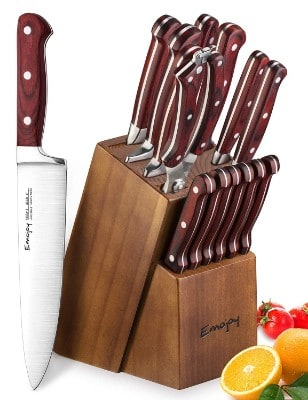 Knife Set, Wooden Handle 15-Piece Kitchen Knife Set with Block Wooden