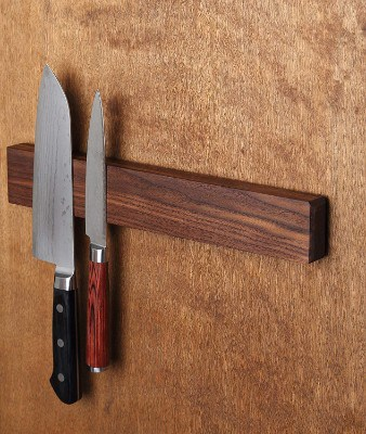 Walnut Magnetic Knife Holder with Multi Purpose Functionality