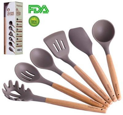 Silicone Cooking Utensils, 6 Pieces Nonstick Kitchen Tool Set BPA Free