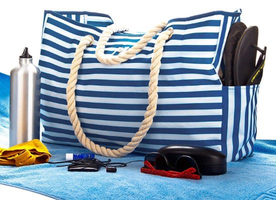 Beach Bag XL. 100% Waterproof. L17xH15xW6 w Cotton Rope Handles