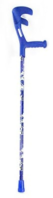 Charming Canes Adjustable Lightweight Folding Forearm Single Crutch (Blue Floral)