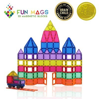 Fun Mags Magnetic Blocks 100-Piece Set 3D Magnetic Building Blocks