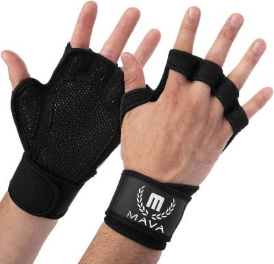 Mava Sports Ventilated Workout Gloves with Integrated Wrist Wraps and Full Palm Silicone Padding