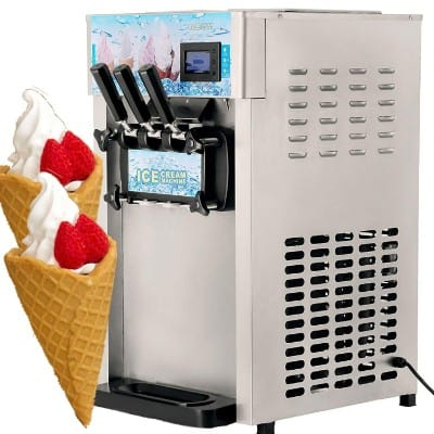 VEVOR Commercial Soft Ice Cream Machine 3 Flavor 4.75Gal:H Yogurt Maker