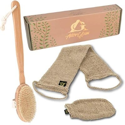 AdorGlam Dry Skin Body Brush Set w:Hemp Scrubbers