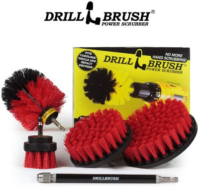 Drillbrush - Stiff Bristle Power Scrubber Cleaning Kit with Extension