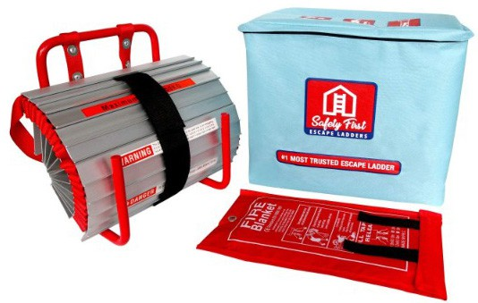 2 Story Emergency Escape Ladder w:Fiberglass Fire Blanket Shelter by Safety First