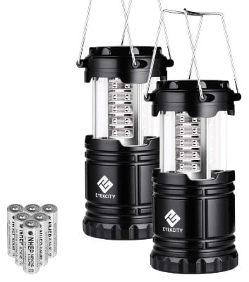 Etekcity 2 Pack Portable LED Camping Lantern Flashlights with 6 AA Batteries