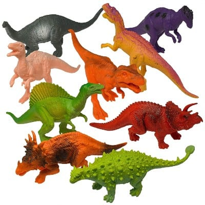 Prextex Realistic Looking 7 Dinosaurs Pack of 12 Large Plastic Assorted Dinosaur Figures