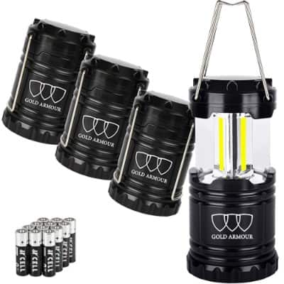 Gold Armour 4Pack Portable LED Camping Lantern (EMITS 350 LUMENS!) LED Lantern Lights