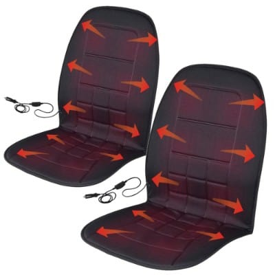BDK 2P-056-BK_AMO Black Travel Warmer Pair - 2 Heated Seat Cushions Covers