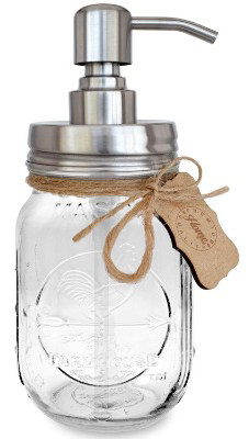 Premium Rustproof 304 18:8 Stainless Steel Mason Jar Soap Pump:Lotion Dispenser