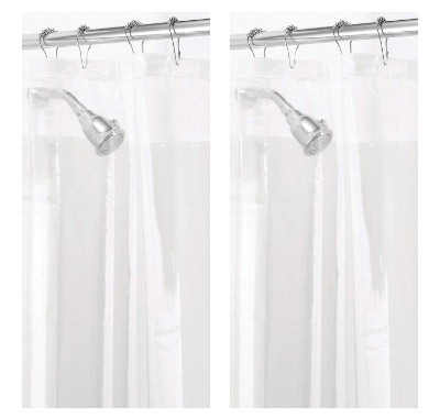 mDesign - 2 Pack - Waterproof, Mold:Mildew Resistant, Heavy Duty PEVA Shower Curtain Liner