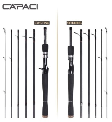 CAPACI Portable Travel Casting Spinning Bass Fishing Rods