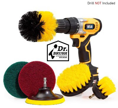 Holikme 6 Piece Drill Brush Attachment Set Scouring Pads Power Scrubber