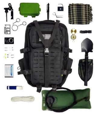 Tactical Backpack + Hydration Bladder with Emergency Tools & Survival Gear, Bug Out Bag Kit