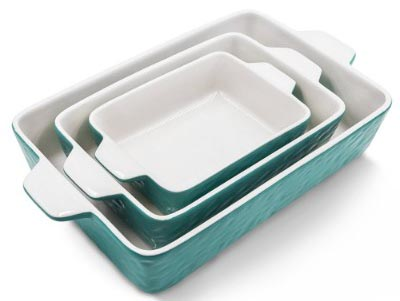 Bakeware Set, Krokori Rectangular Baking Pan Ceramic Glaze Baking Dish