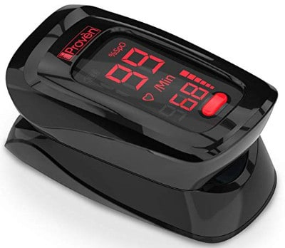 Pulse Oximeter Fingertip - iProven OXI-27 Black - Oxygen Monitor with Heart Monitor