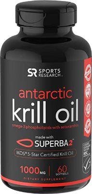 Antarctic Krill Oil (Double Strength) with Omega-3s EPA, DHA, and Astaxanthin
