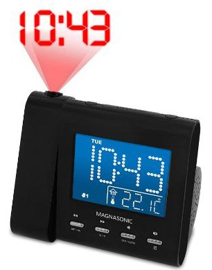 Magnasonic Projection Alarm Clock with AM:FM Radio, Battery Backup, and Auto Time