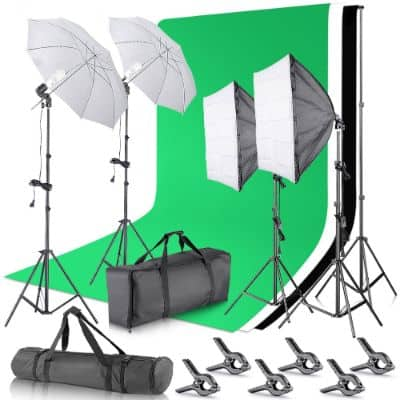 Neewer 2.6M x 3M:8.5ft x 10ft Background Support System and 800W 5500K Umbrellas Softbox