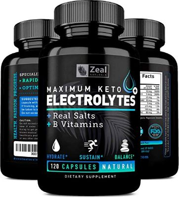 Keto Electrolyte Supplement (120 Capsules) Electrolyte Tablets w Real Salt