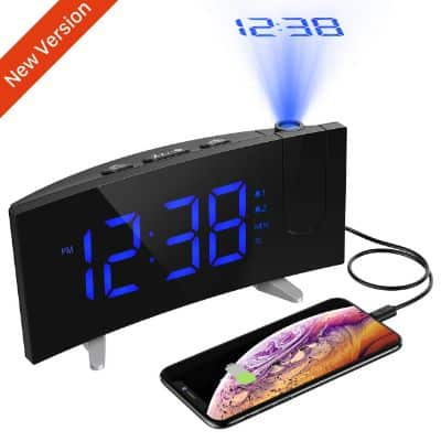 PICTEK Projection Alarm Clock, 5'' LED Curved Screen Digital Projection Clock