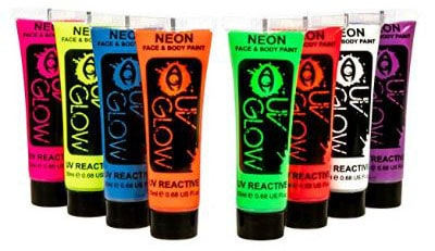 UV Glow Blacklight Face and Body Paint 0.68oz - Set of 8 Tubes