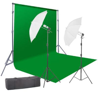 StudioFX 400W Chromakey Green Screen 6ft x 9ft Backdrop Photography Video Lighting Kit