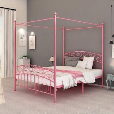 DUMEE Queen Size Metal Canopy Bed Frame